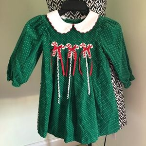 Rare Editions Girls Christmas Candy Cane Dress